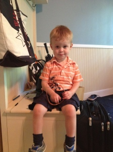 Nate's First School Spirit Day (age 3) - his school colors were orange and blue