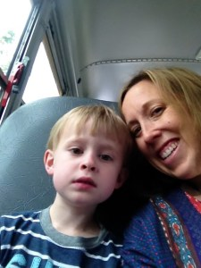 Nate and Susie's selfie on their solo bus trip to see Nate's new school and classroom