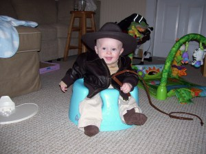 Nate's first Halloween. He was Indiana Jones!